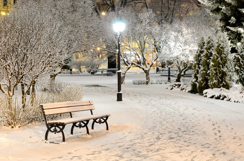 скамья, Парк, зима,