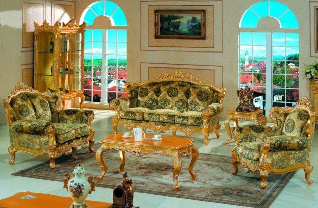 Желто-зеленая обивка для мебели в стиле барокко