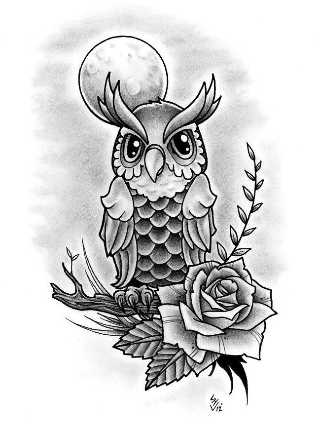 Картинка совы эскиз