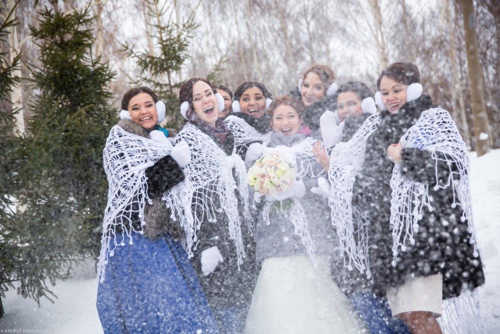 подружки-невесты +зимняя-свадьба