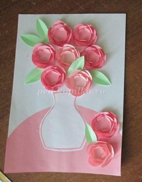 Открытки, открытка ваза с цветами из бумаги своими руками