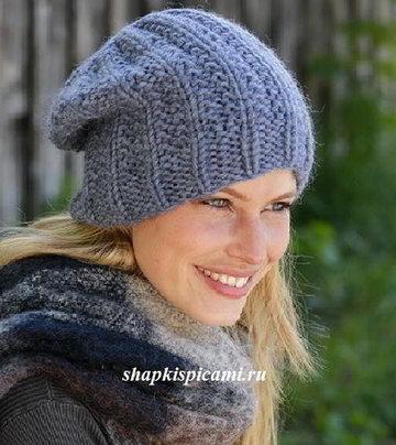 вязание шапки бини из толстой пряжи спицами описание и схемы