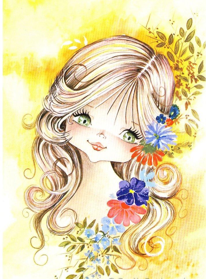 Спокойной ночи, открытка милые девочки