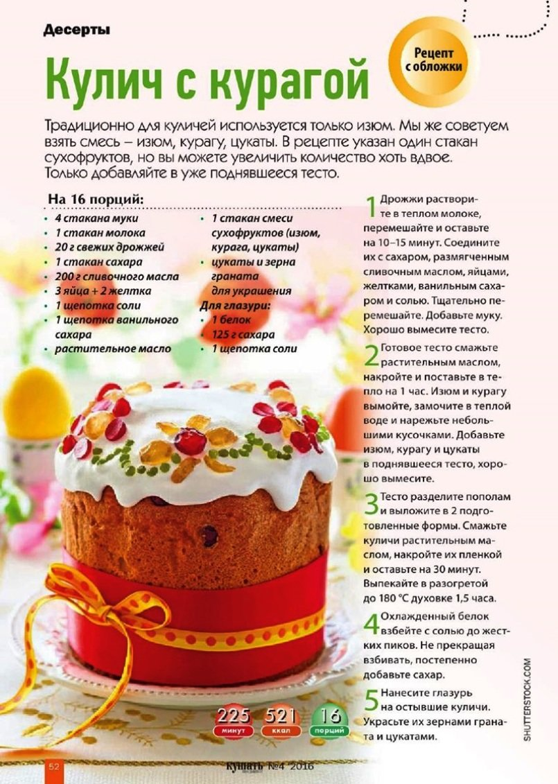 Рецепты в картинках куличи
