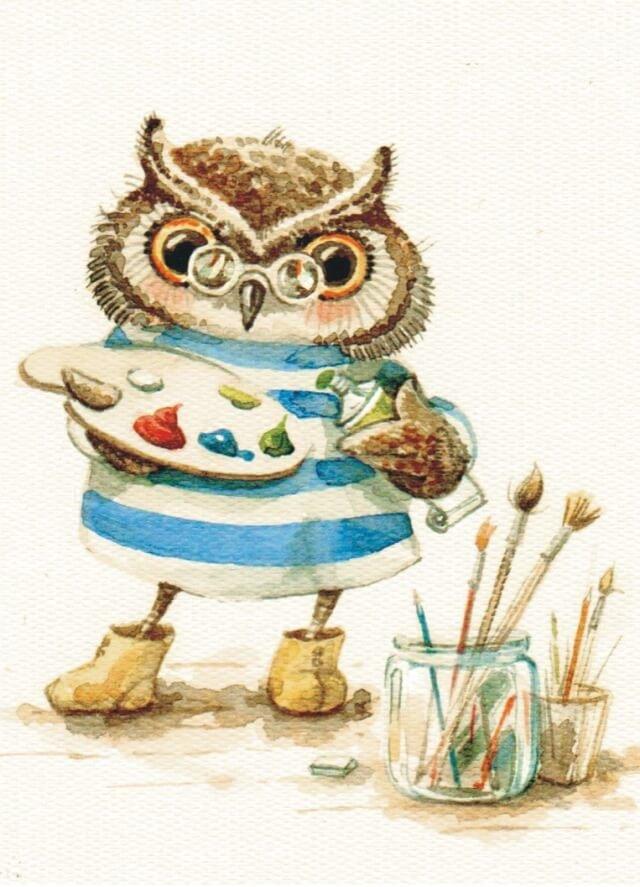 Картинки смешные совы рисунок, рождественские