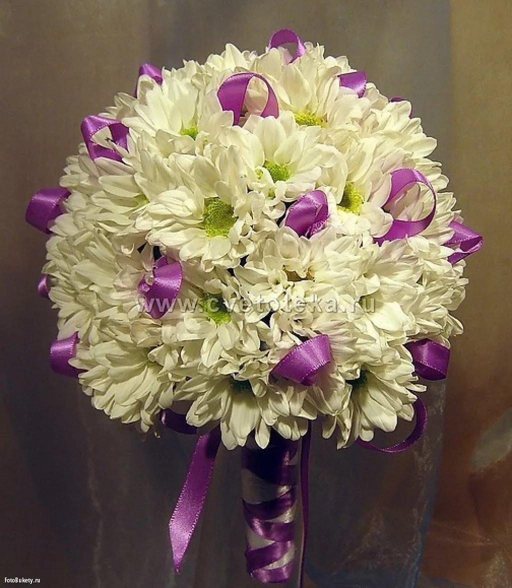 букет свадебный из хризантем фото