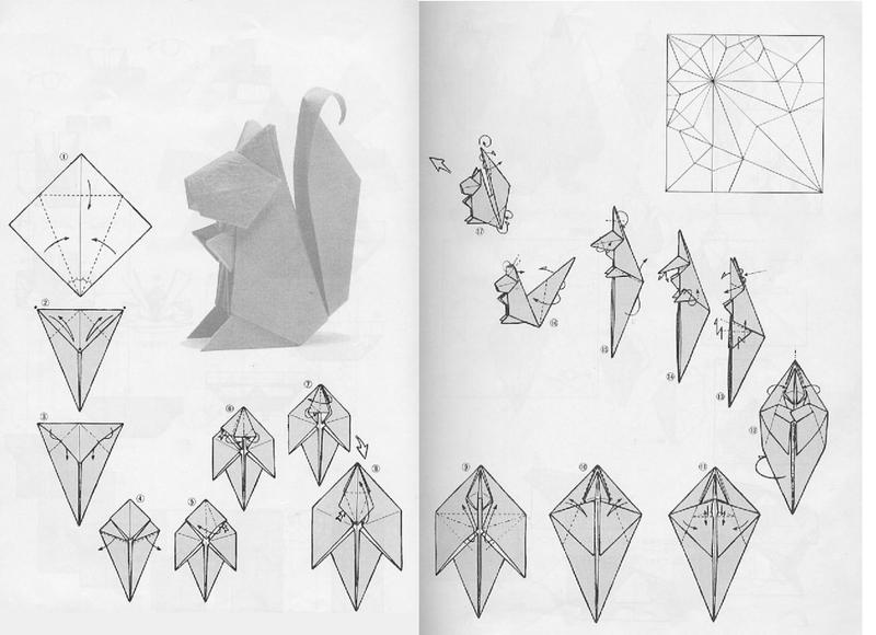 Как собрать белочку (белку, рысь) Схема сборки модульного оригами белочка