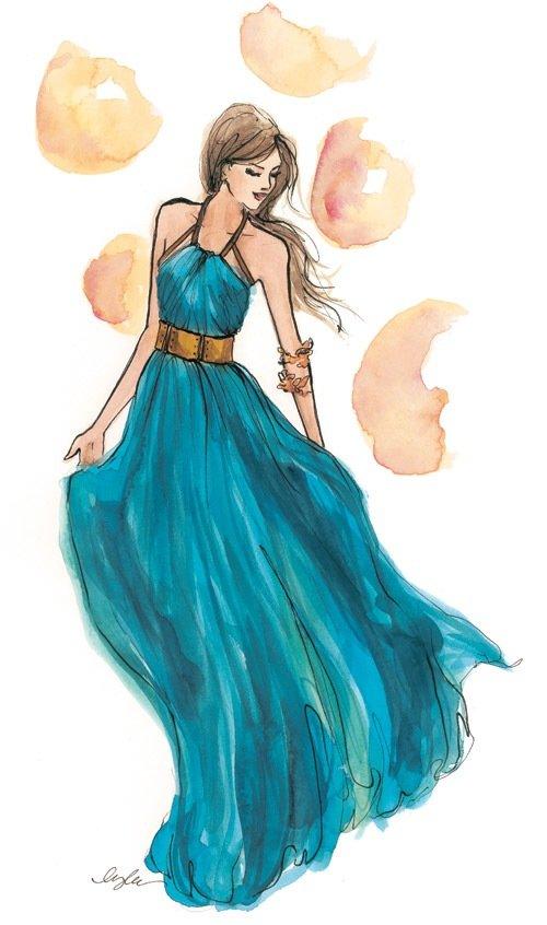 Нарисованные девушки в красивых платьях картинки
