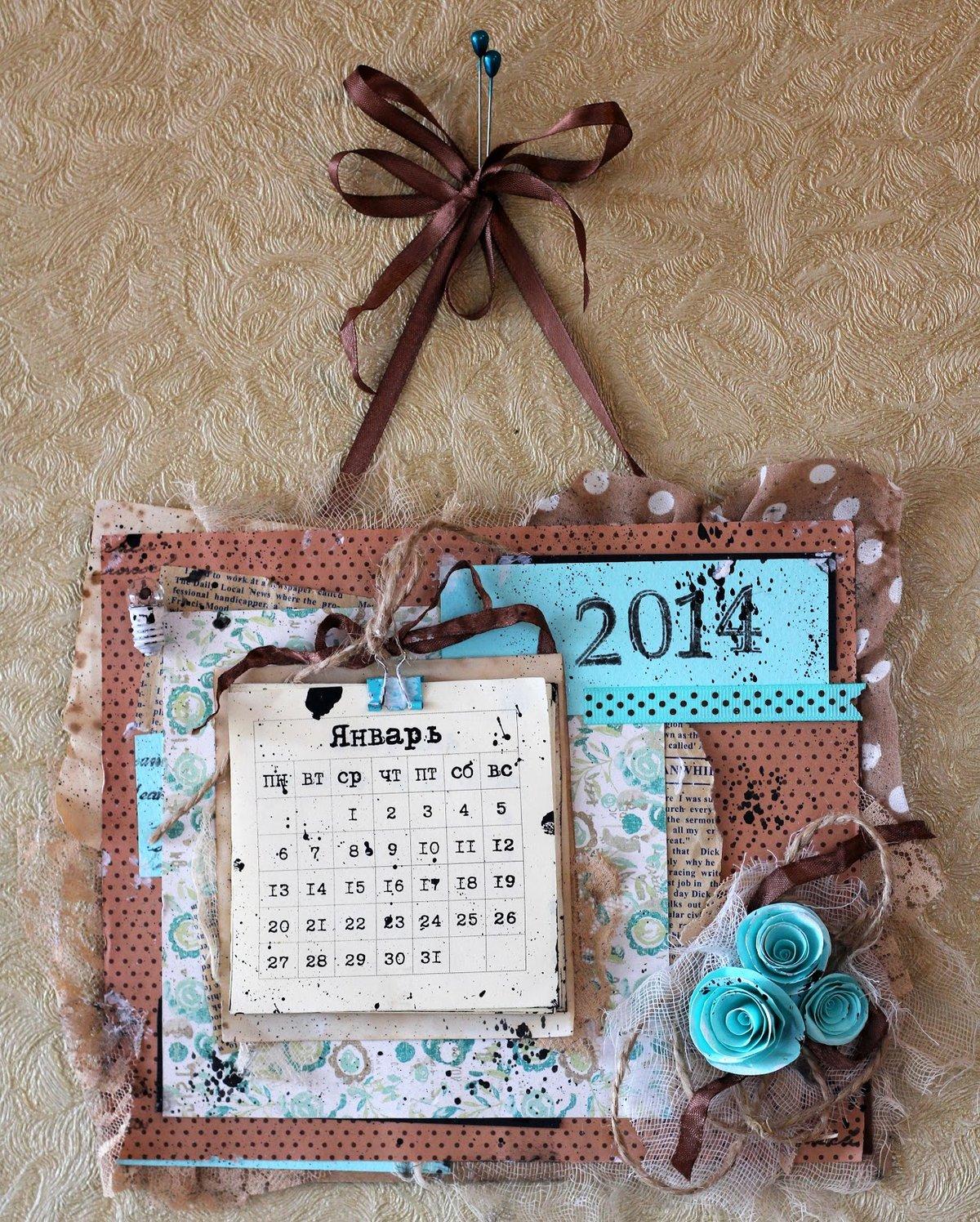 Как сделать календарь о открыткой, гофрокартона