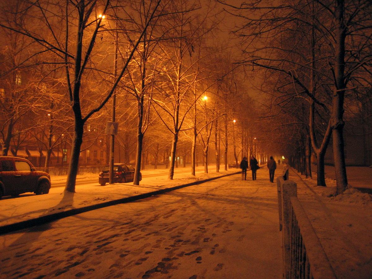 Картинки город зимой вечер