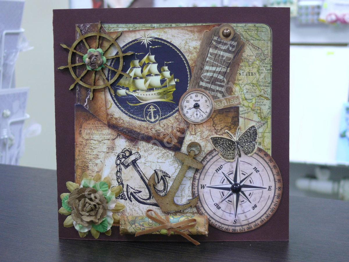 Скрап открытка в морском стиле