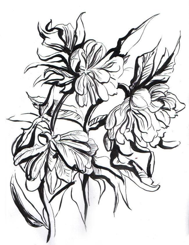 Картинка ручкой цветы