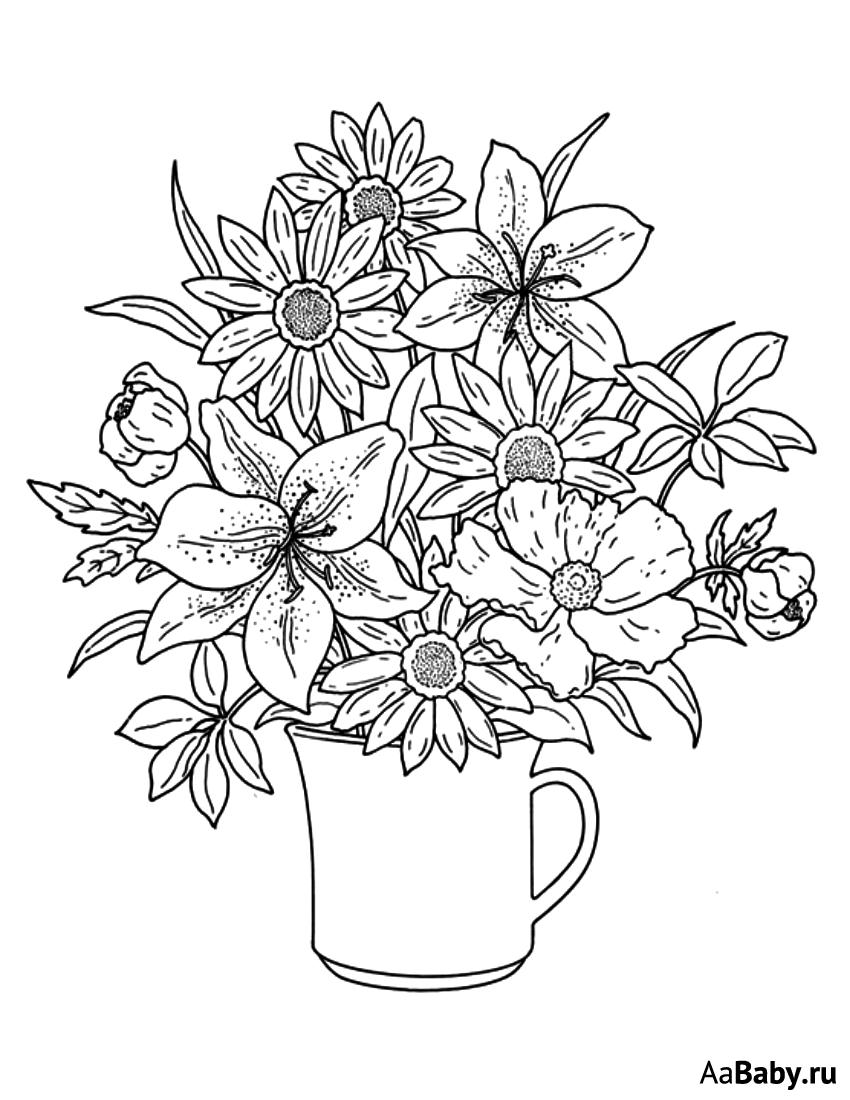 распечатать раскраски цветы в вазе него
