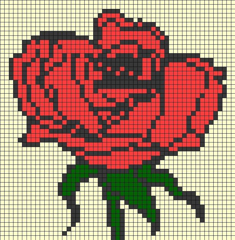 картинки по клеточкам в тетради розы