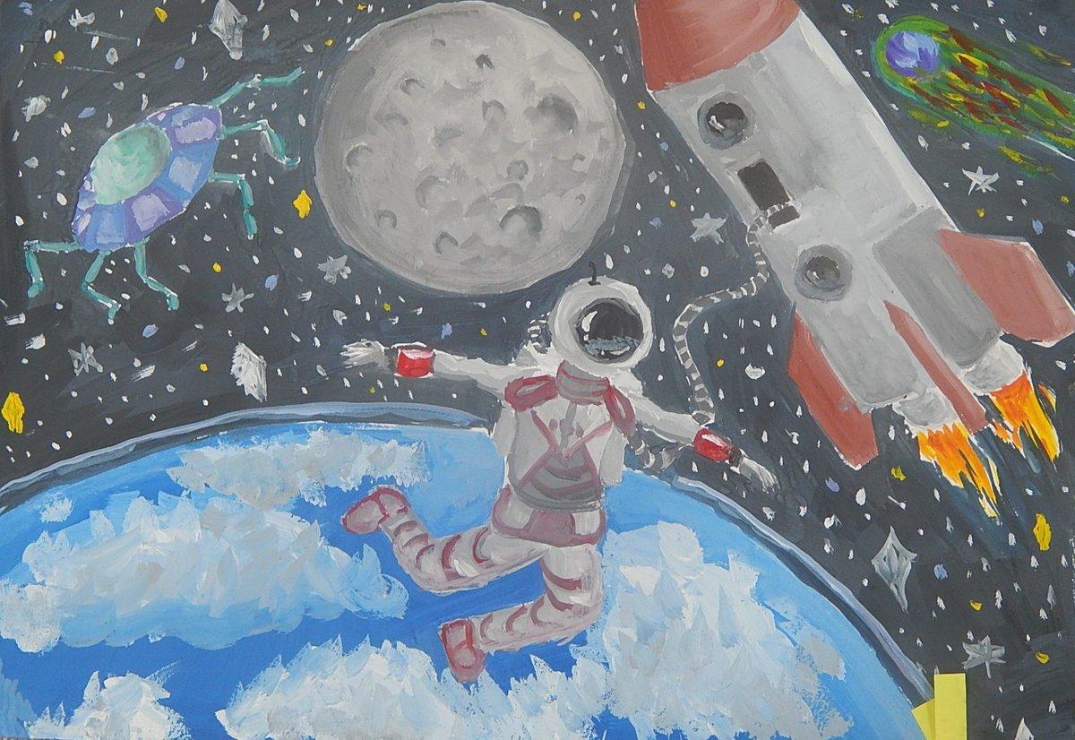 Птицами вечером, самые креативные рисунки на тему космос