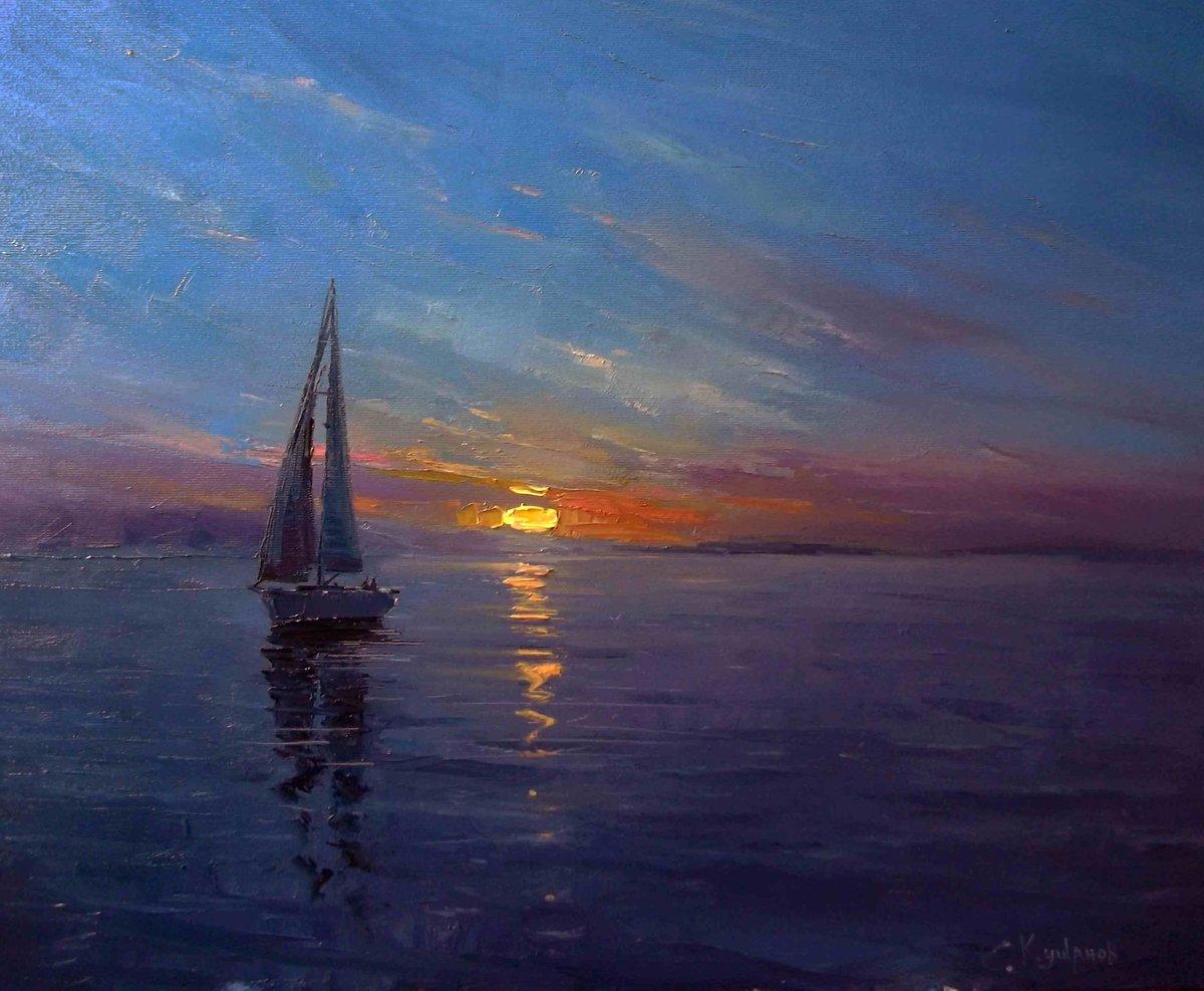 картина море закат приятно, авто