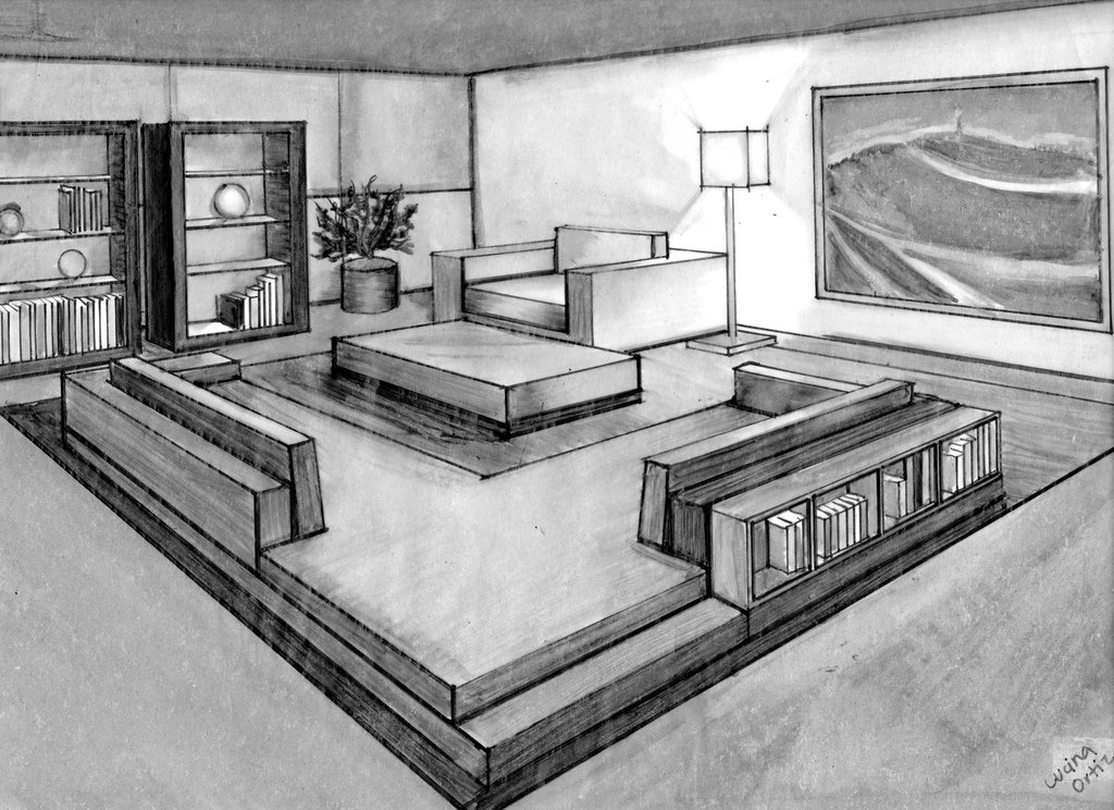 Interesting 60 living room 2 point perspective - One point perspective drawing living room ...