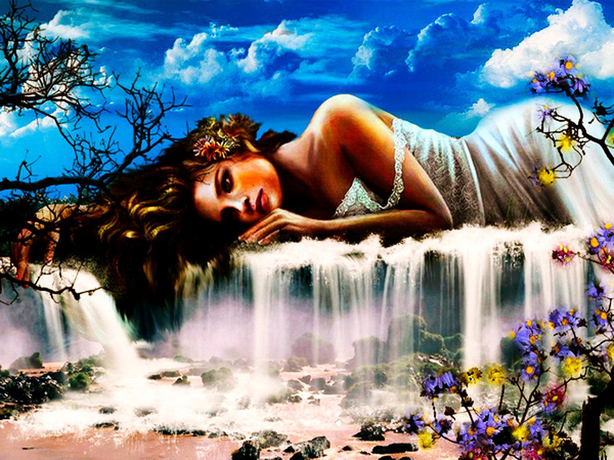 Гифки водопады девушки цветы