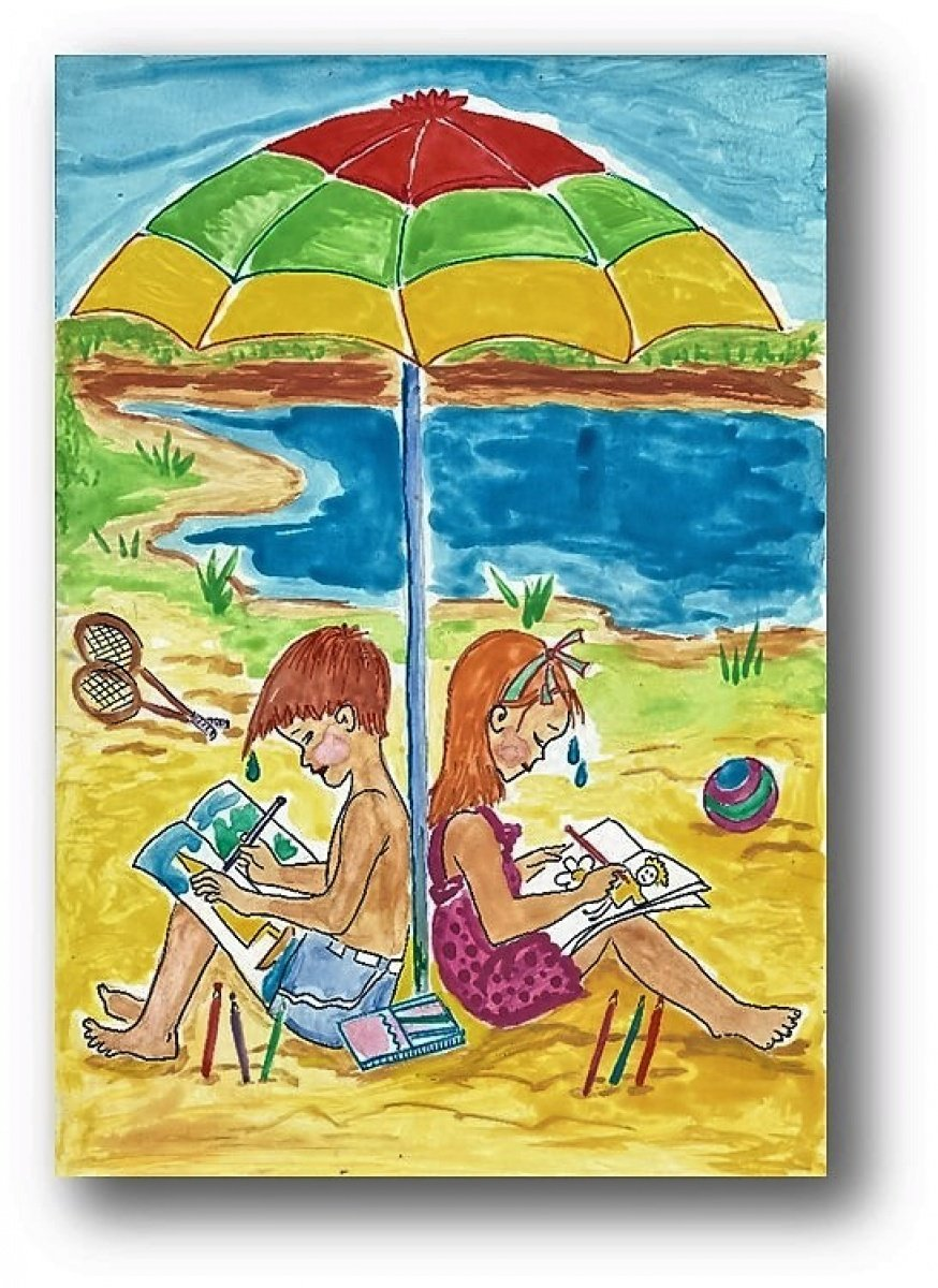 Открытки, летние каникулы рисунок