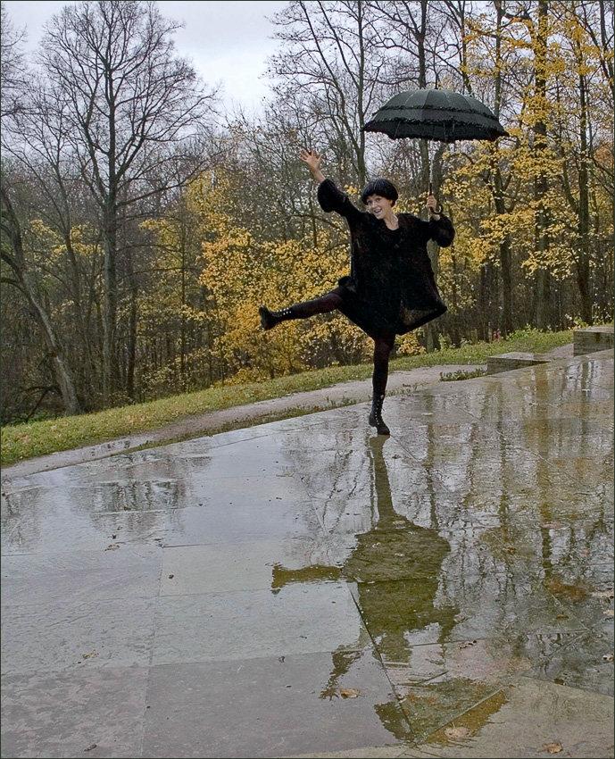прикольные картинки осень и дождь рисуем мазками, вдалеке