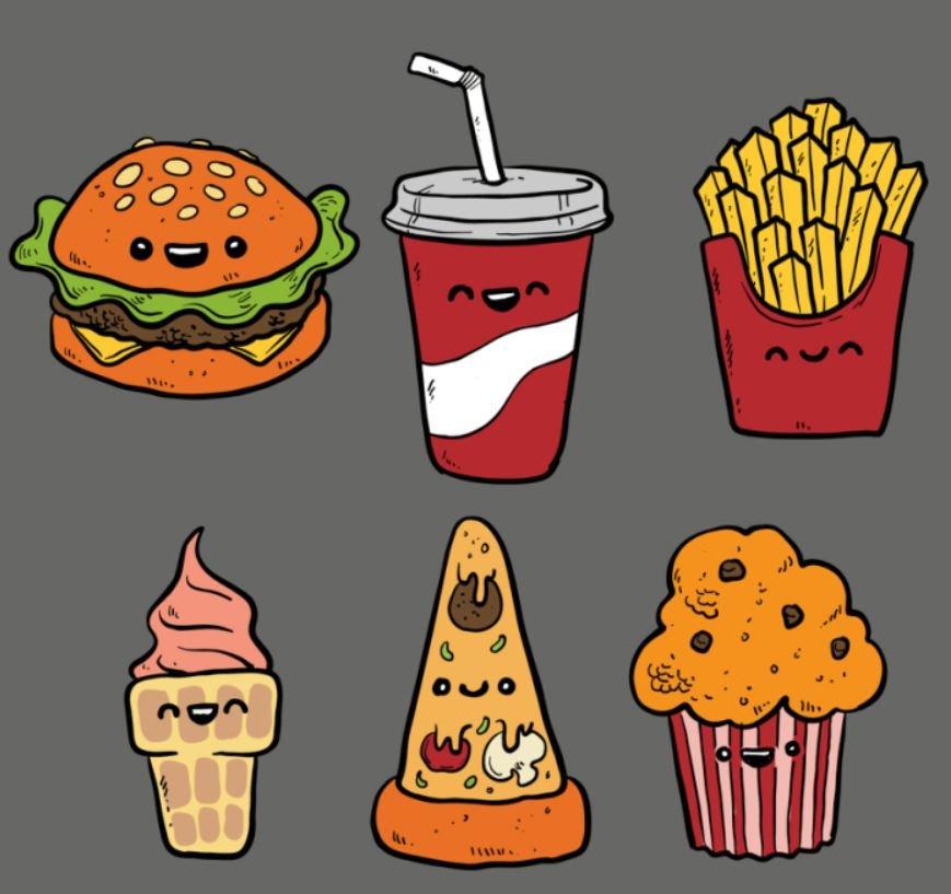 Днем рождения, прикольные рисунки еды карандашом