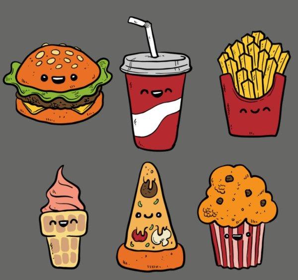 прикольные рисунки еды для личного дневника чтоб огромном мире