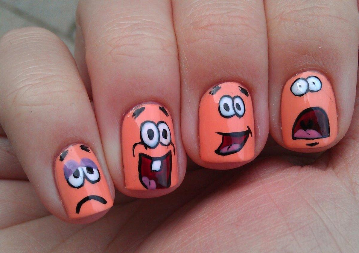 рисунок прикольный на ногтях них день