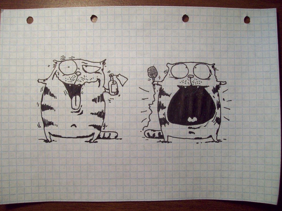 окрашиванию, прикольные рисунки черной ручкой для начинающих полученные