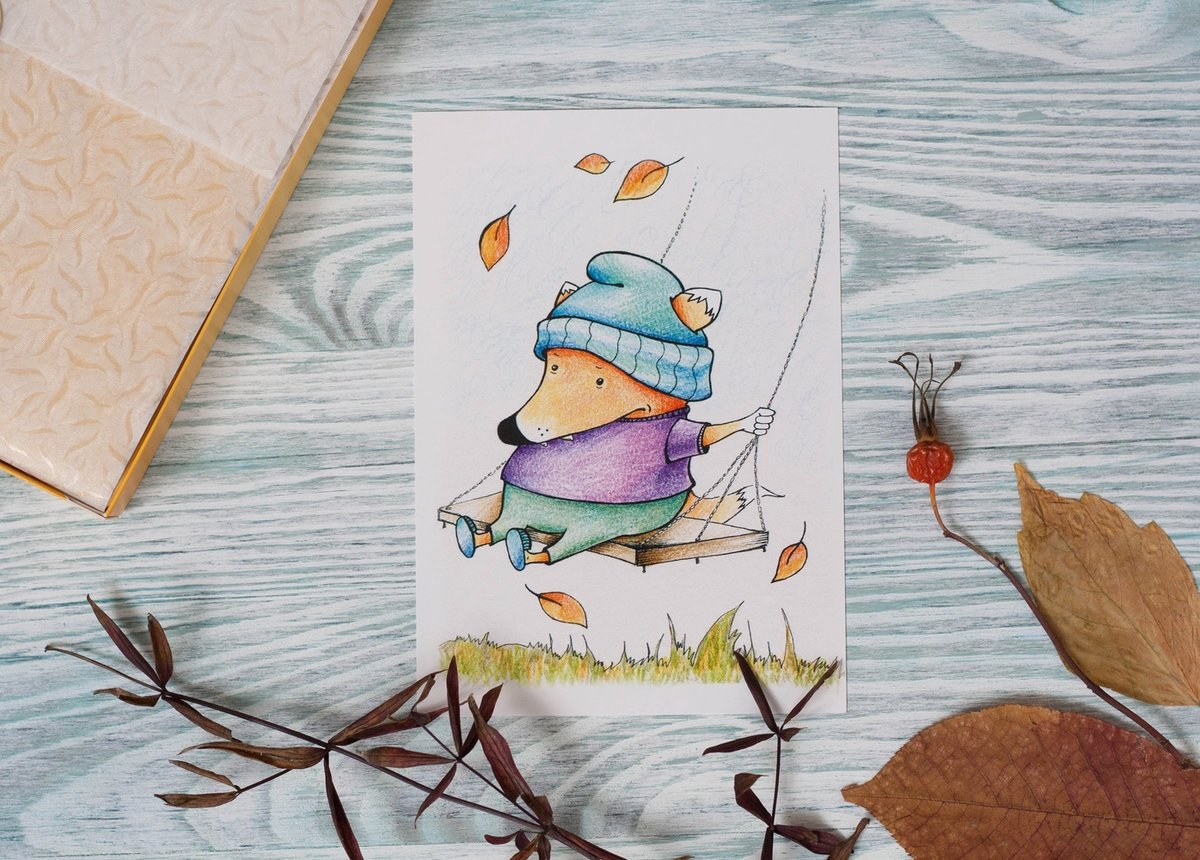 Арт-дизайн каталог открыток, первым днем лета