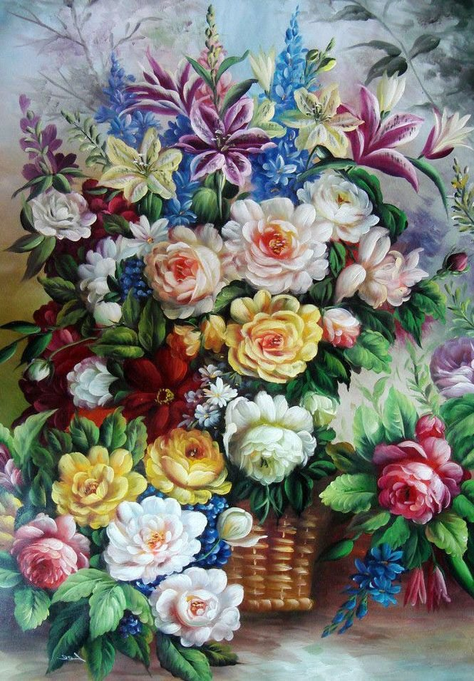 Открытка, цветы букет рисунок цветной