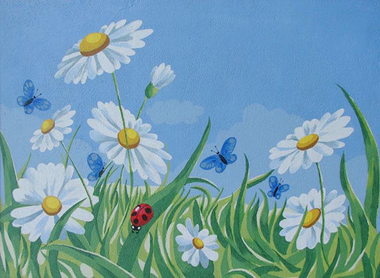 Картинка поле ромашки для детей мультяшная