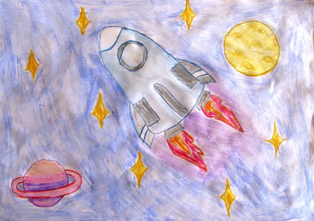 Картинка про космос для детей нарисовать