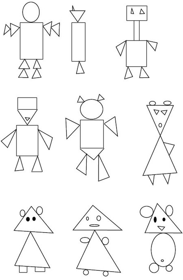 картинки из треугольников кругов и квадратов для школы пожалуйста, если хотите