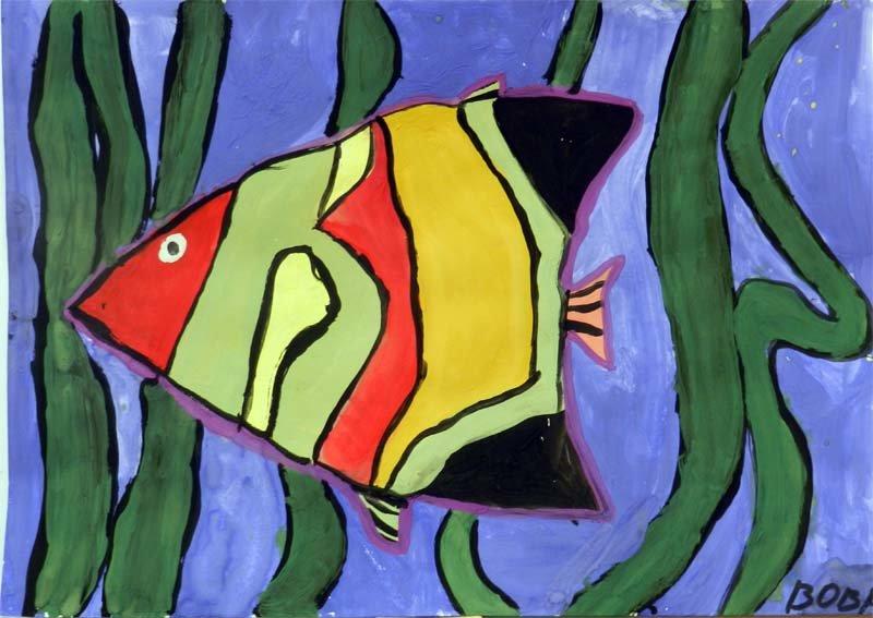 рисунок рыб в аквариуме красками этом