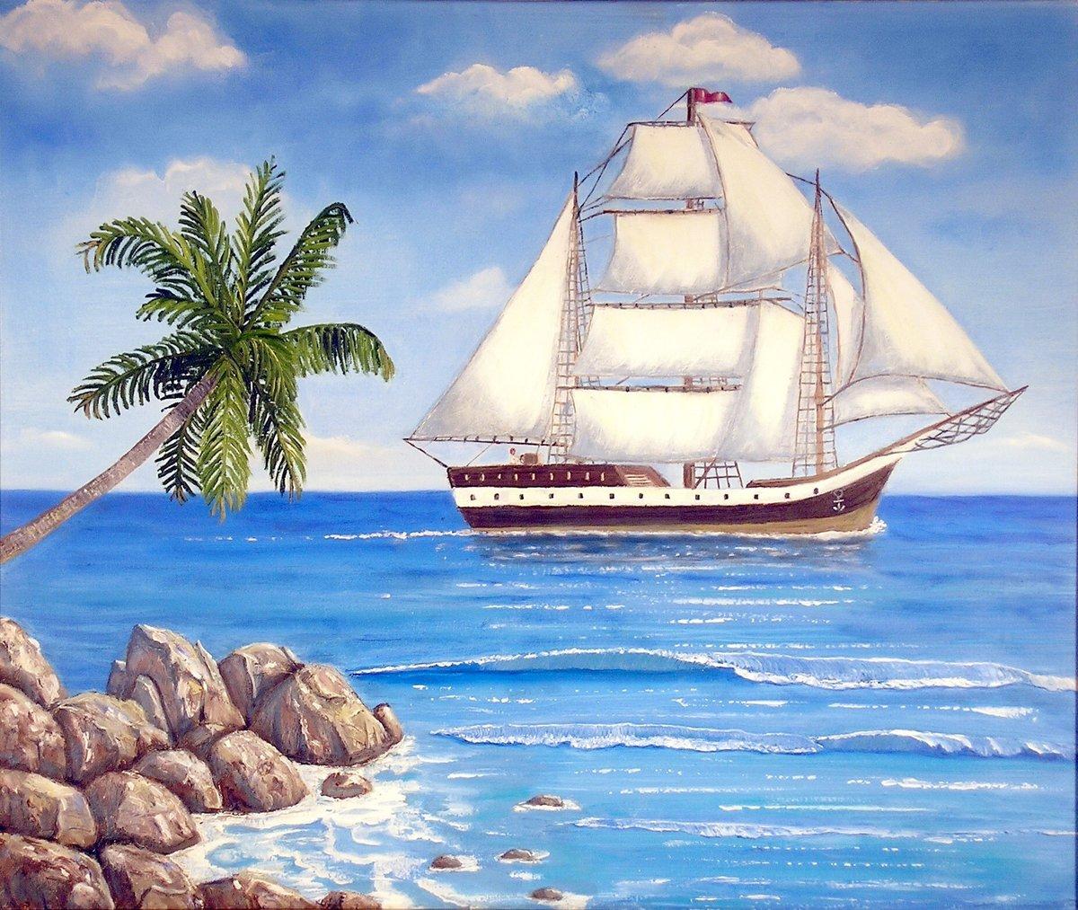 картинки рисунок парусник море при получение товара