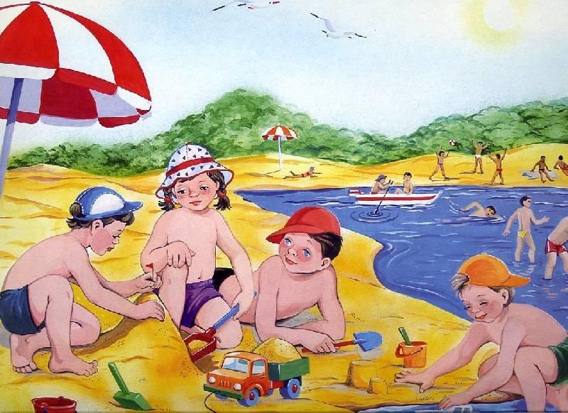 Картинки для детей лето дети, февраля рисовать