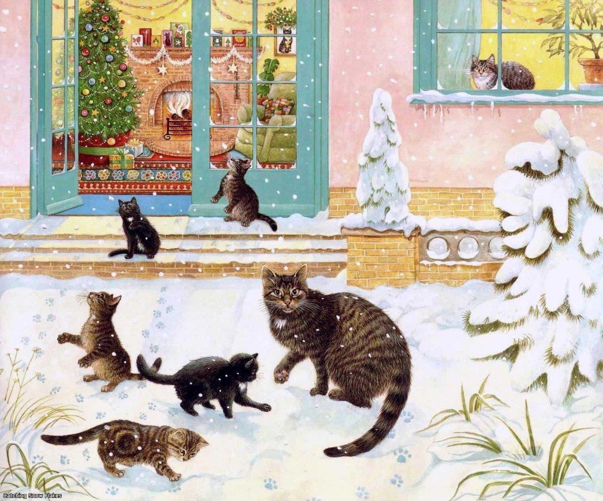 С новым годом открытки с котом