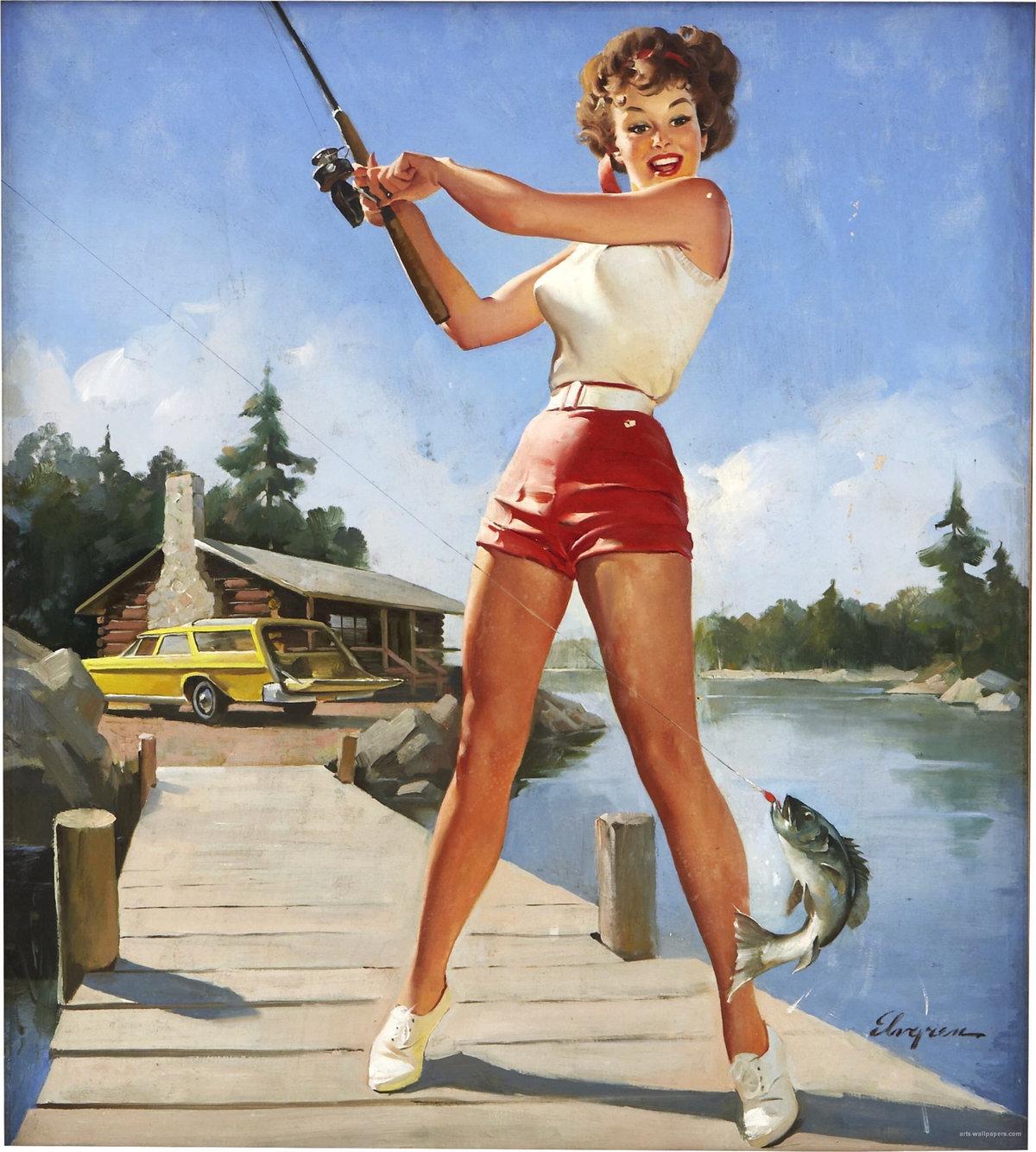 Картинки американских девушек 50-х годов, открытка днем