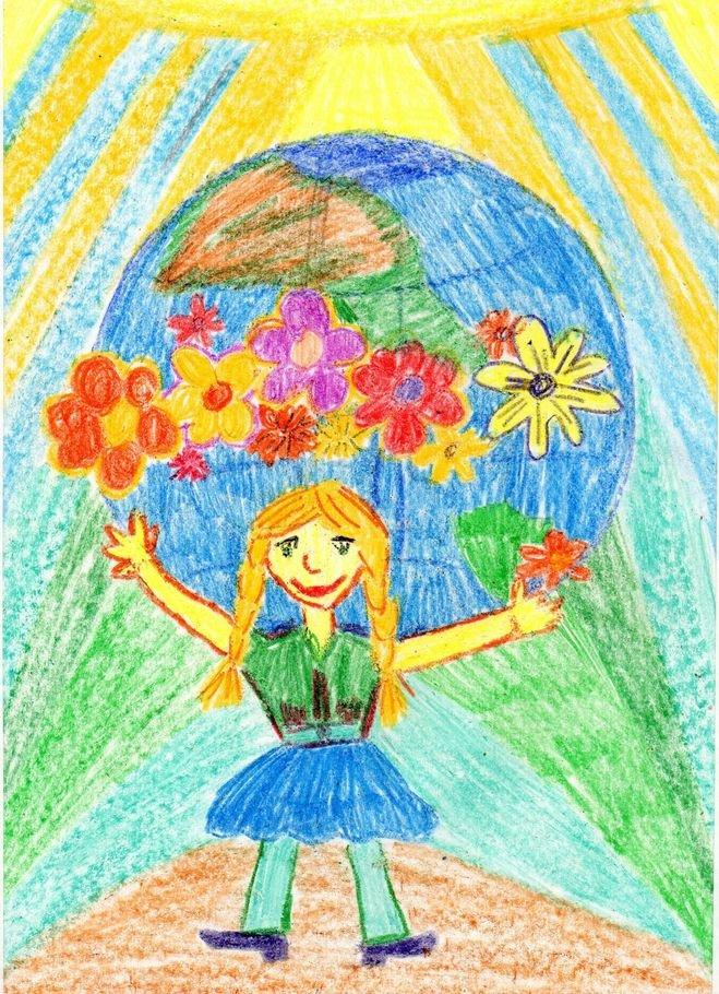 Рисунок к дню защиты детей в школу, класс открытка