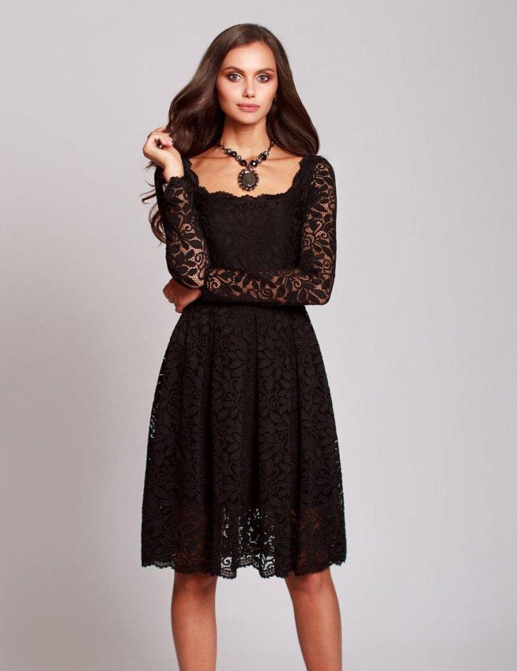 вечерние платья черные с кружевом фото