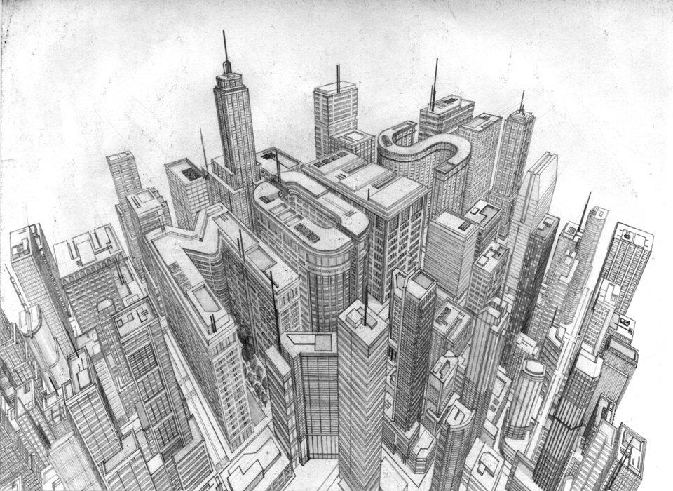 Мегаполис картинки карандашом