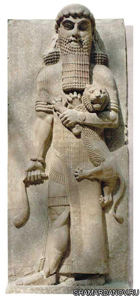 Гильгамеш, царь г. Урука, герой эпоса о Гильгамеше (барельеф, VIII в. до н.э.; Ассирия; Париж, Лувр)