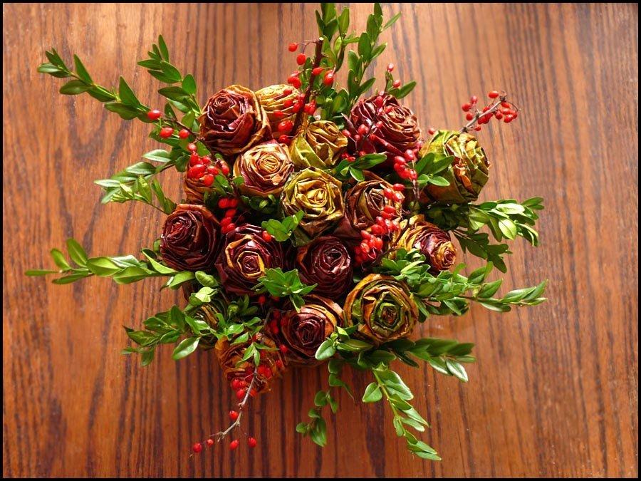 Оригинальные букет из листьев деревьев, форевер свадебный