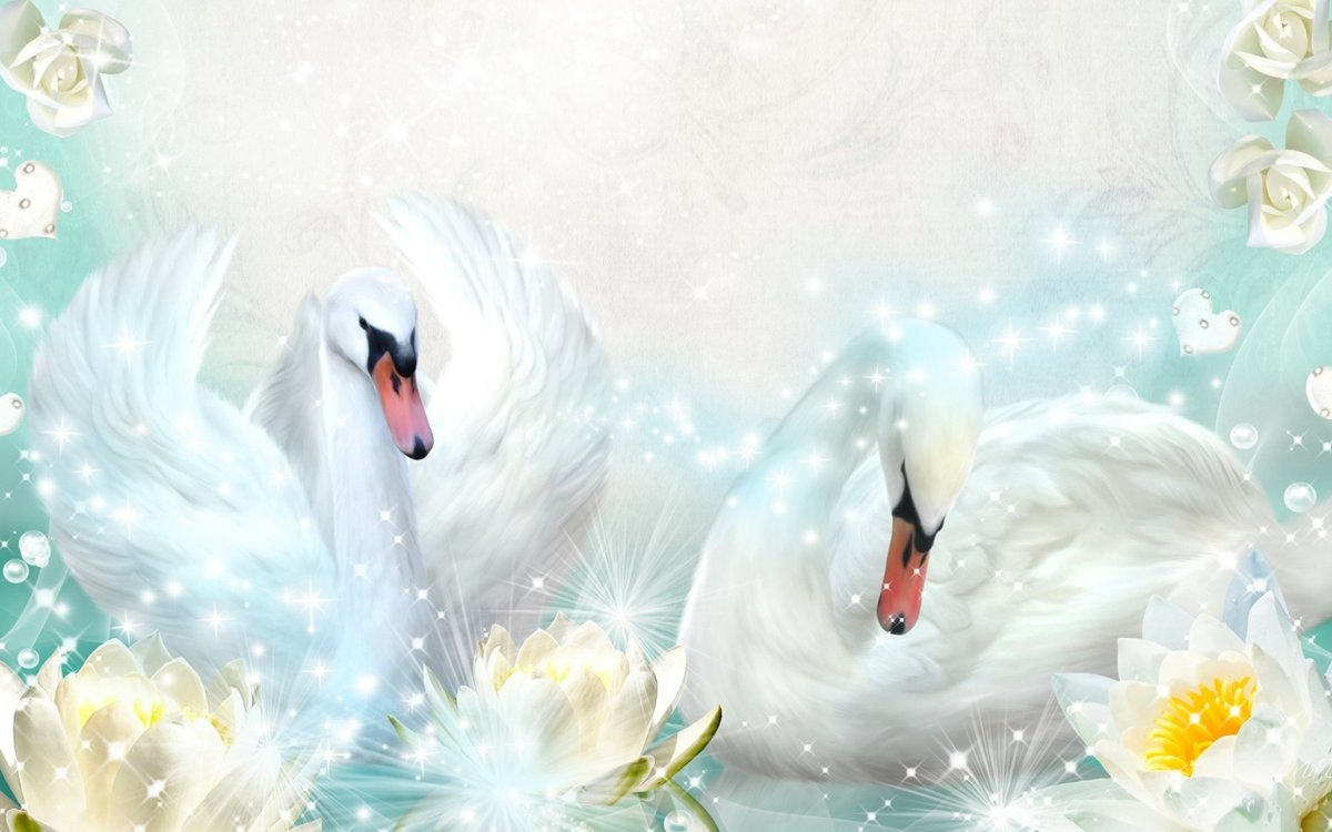 Открытка лебеди на свадьбу, открытки