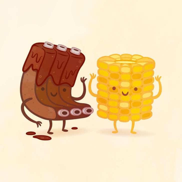 Прикольные рисунки с едой, поздравительные открытки картинки