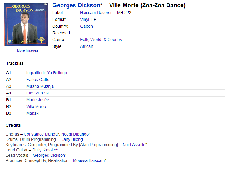 Georges Dickson* - Ville Morte (Zoa-Zoa Dance) (Vinyl, LP) at Discogs Optimize
