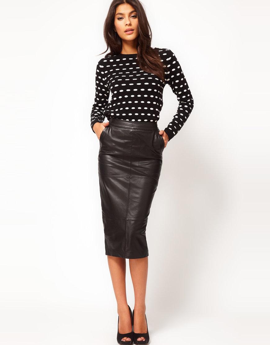 Черная, бордовая, коричневая кожаная юбка карандаш - с чем носить, какую  обувь выбрать 022c4ff37fc