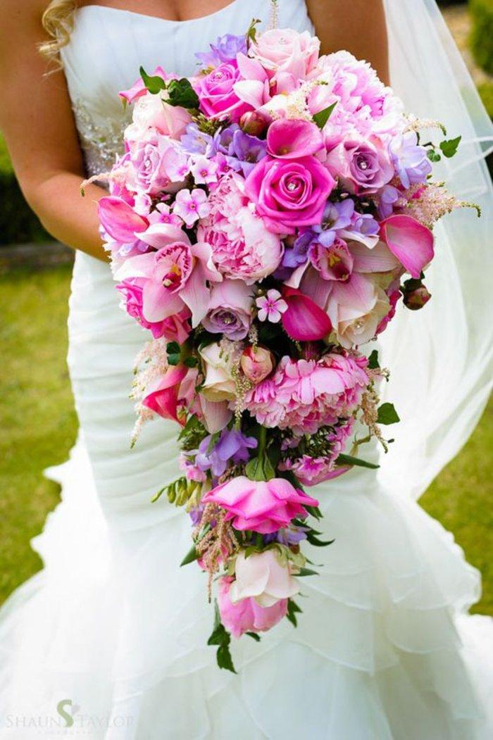 Длинные букеты невесты, ромашек васильков