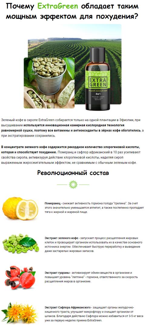 Extragreen жидкий зеленый кофе для похудения, цена и отзывы 2018.