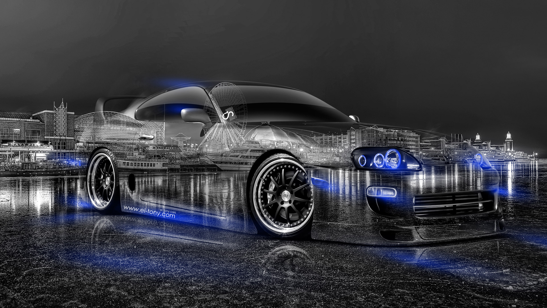 Toyota Supra JDM Crystal City Car 2014 Blue Neon HD Wallpapers Design By Tony Kokhan El 1920x1080